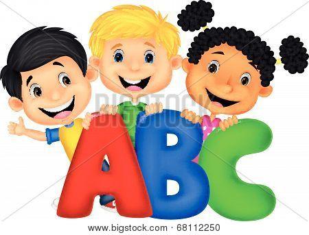 Cartoon School kids with ABC