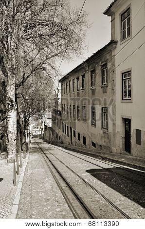 view of Calcada da Gloria, with the rails of the Gloria Funicular, in Lisbon, Portugal