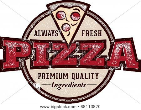Vintage Style Pizzeria Pizza Sign