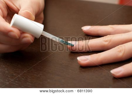 Cuticle care brushing cuticle remover around nail poster