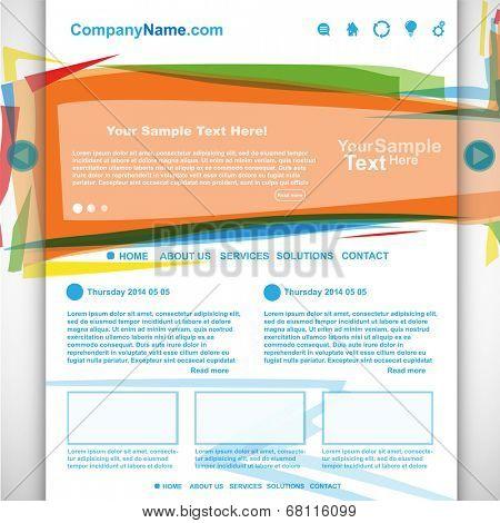 Website design colorful template, vector