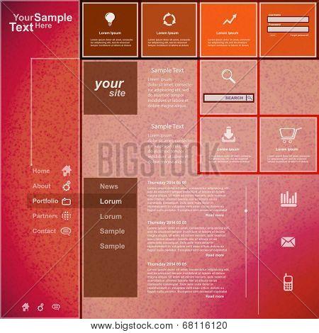 Website template orange pink design, vector
