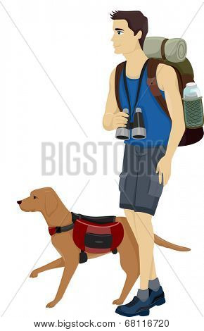 Illustration of a Man and His Pet Dog Hiking poster