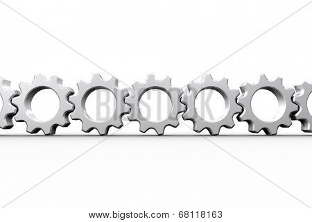 White cogs and wheels connecting on white background poster