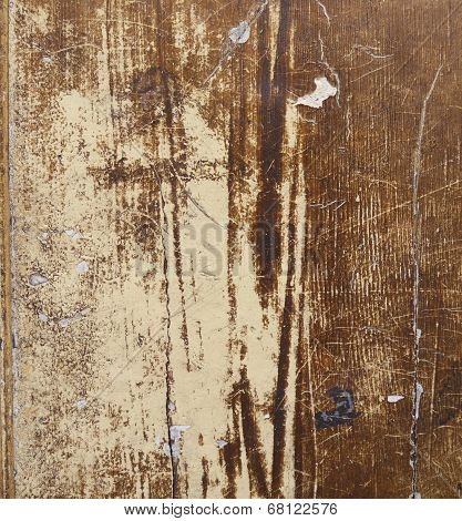 Close-up of old brown and white painted wood as background