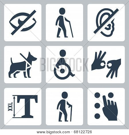 Disabled releated vector icons set over white poster