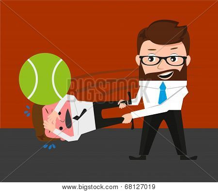 Businessman is playing tennis by bad manager