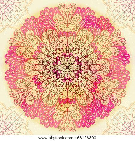 Hand Drawn Ethnic Circular Pink Ornament. Eps10