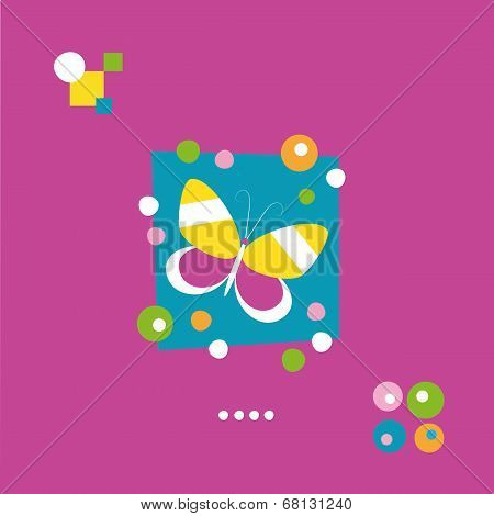 cute butterfly and dots greeting card