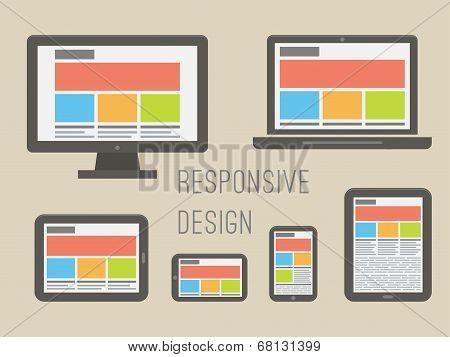 responsive web design. Flat style vector illustration