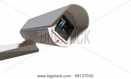 Surveillance Camera On White