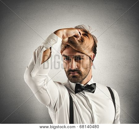 Concept of time to change with businessman and mask poster