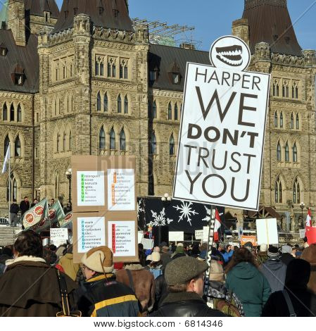 Protest of Harper's proroguing of Parliament, Ottawa