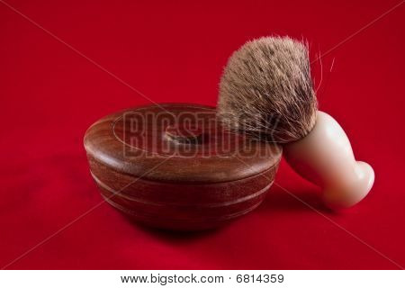 Wooden Shaving Soap Bowl And Brush On Red Background