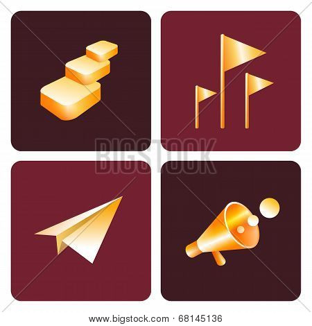 Luxury gold vector set of  business 3d icons.