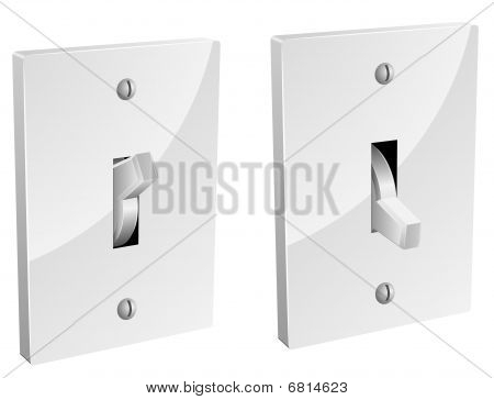 Electric switch in on and off mode isolated on white. poster
