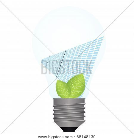 Solar panels and green leaves on a background of the light bulb. illustration on white background. poster