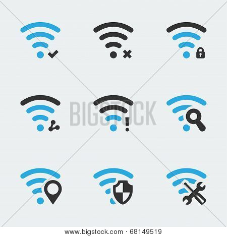 Wifi related vector icons set on gray background poster