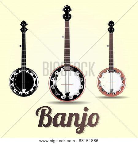 vector musical instrument jazz banjo