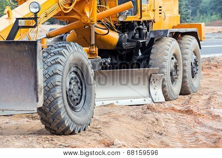 Closeup Of Road Grader Blade