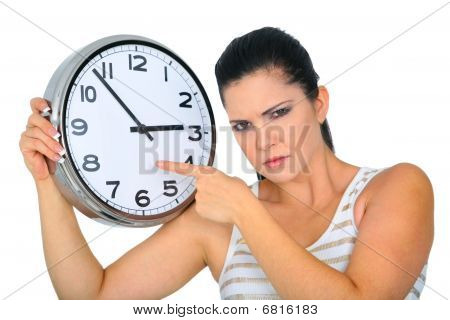 Angry Woman Pointing To Clock