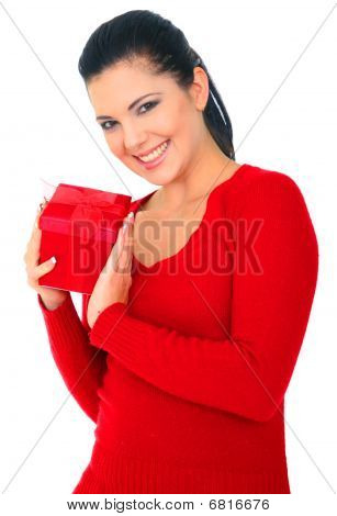 Woman In Red Holding Gift