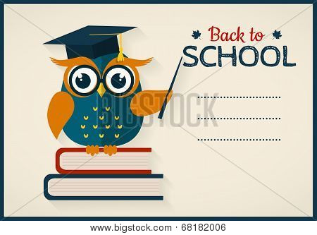 Back To School. Card With Learned Owl And A Place For Text.
