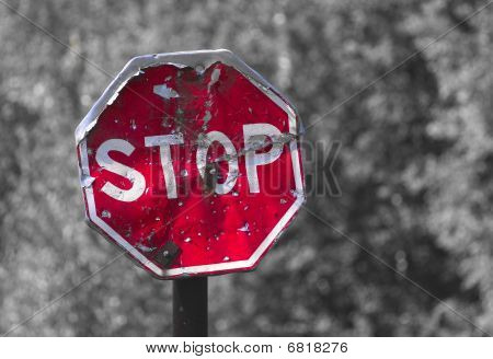 Old Colored Traffic Sign Stop.