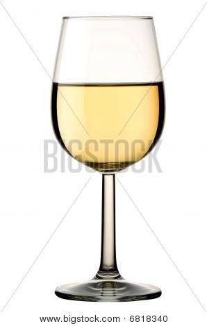 Glass Of White Wine Isolated With Clipping Path