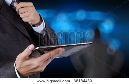 Businessman Success Working Computer Touch Screen With His Team As Concept