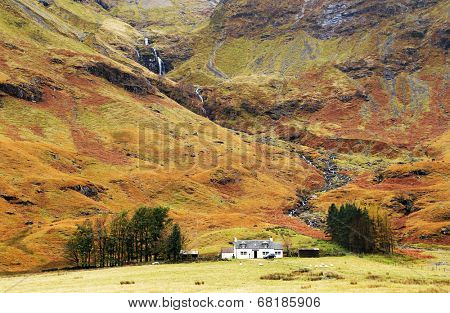 Alpine autumn landscape in Highlands, Scotland, United Kingdom