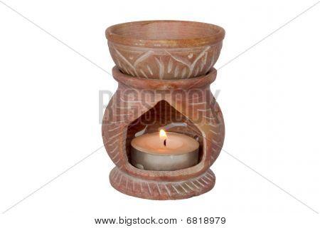 Aromatherapy Oil Burner On White Background