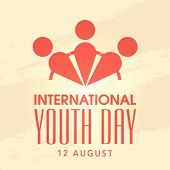 Stylish poster, banner of flyer with human joining hands together on beige background for International Youth Day.  poster