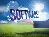 Businesswomans hand presenting the word software against sunny green landscape poster