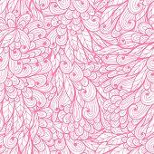 Seamless floral monochrome pink hand drawn pattern poster