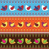 seamless brightly coloured decorative bird banners design poster