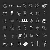 Hand draw social media sign and symbol doodles elements. Concept tweet, hashtag internet communication. poster
