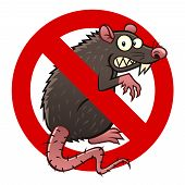 Anti pest sign with a funny cartoon rat. poster