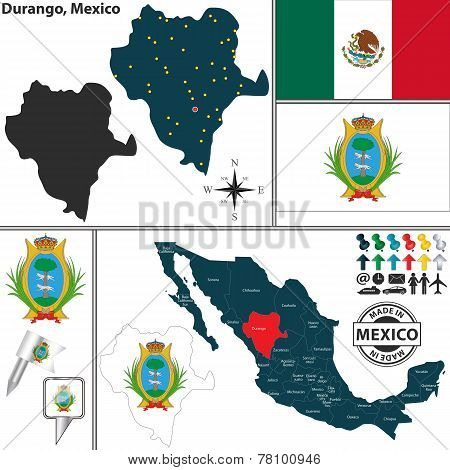 Map Of Durango, Mexico