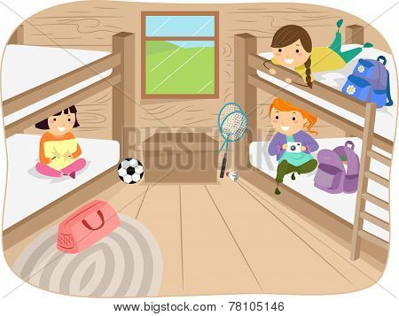 Illustration of Little Girls Sharing a Cabin in a Camp