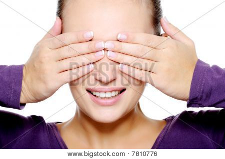 Face Of Young Woman Hide Her Eyes