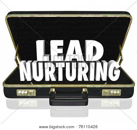 Lead Nurturing 3d words in a black leather briefcase to illustrate a sales or marketing campaign to educate customers, clients or prospects about your products or service