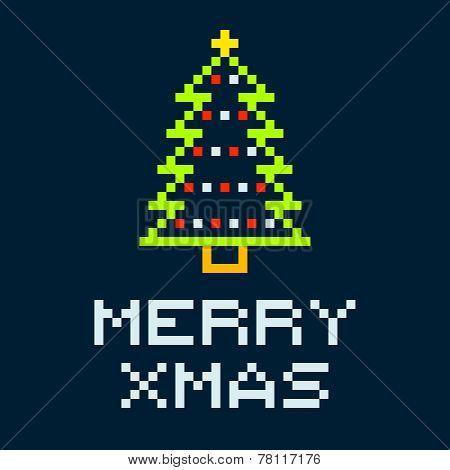 8-bit Pixel Merry Xmas Christmas Tree