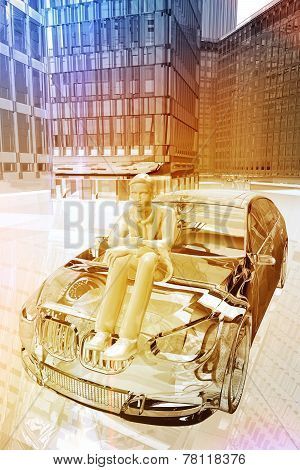 Businessman Sitting Outside A Car In The City