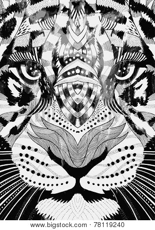 tiger psychedelic drawing poster