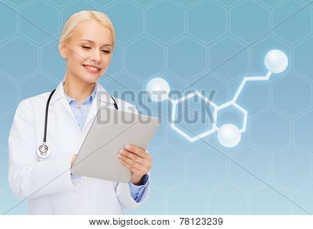 healthcare, medicine and technology concept - smiling female doctor with tablet pc computer and molecule of serotonin over blue background