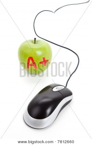 Green Apple And Computer Mouse