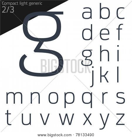 Vector illustration of generic font. Compact light style