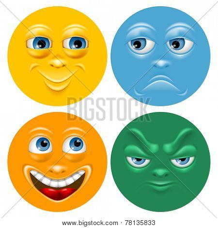 Cartoon face set with positive and negative emotion. Vector illustration.