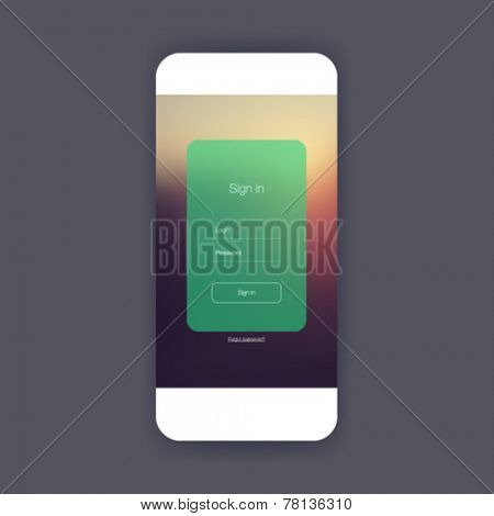 Flat ui sign in screen for mobile app design or wireframe application.